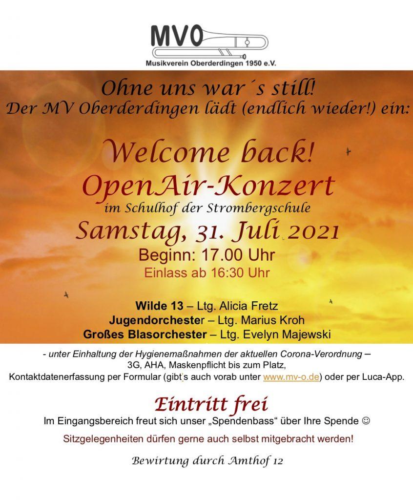 Welcome back! OpenAir Konzert am Samstag, 31.07.2021